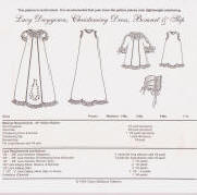 Chery Williams Patterns Lacy Daygown, Christening Dress, Bonnet & Slip